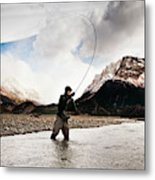 Fly Fishing At The Base Of Fitz Roy Metal Print