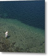 Fly Fishing In Alpine Lake Metal Print