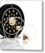 Fly Fishing Reel With Fly Metal Print by Tom Mc Nemar
