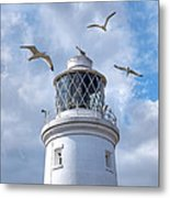 Fly Past - Seagulls Round Southwold Lighthouse - Square Metal Print