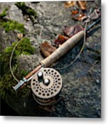Fly Rod And Reel Detail On Mossy Wet Metal Print