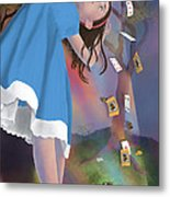 Flying Cards Dissolve Alice's Dream Metal Print