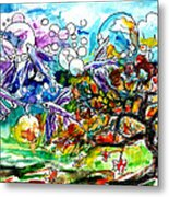 Flying Fish Tree And Bubbles Metal Print