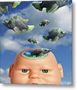 Flying Head Fish Metal Print