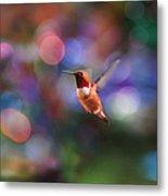 Flying Hummingbird And Bokeh Metal Print