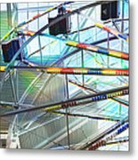 Flying Inside Ferris Wheel Metal Print