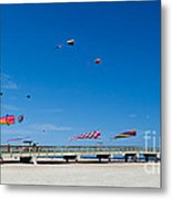 Flying Kites From The Pier Metal Print