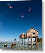 Flying Kites Metal Print