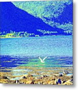 Seagull Flying Low, Mountains Standing Tall  Metal Print