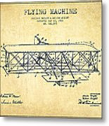 Flying Machine Patent Drawing From 1906 - Vintage Metal Print
