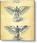 Flying Machine Patent Drawing-vintage Metal Print