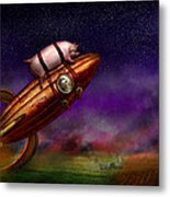 Flying Pig - Rocket - To The Moon Or Bust Metal Print by Mike Savad