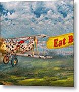 Flying Pigs - Plane - Eat Beef Metal Print