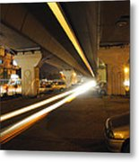 Flyover In The Night Metal Print
