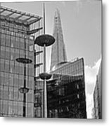 Focus On The Shard London In Black And White Metal Print