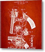 Foehl Revolver Patent Drawing From 1894 - Red Metal Print