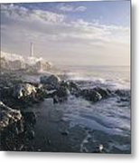 Fog And Rocky Shoreline In Winter With Metal Print
