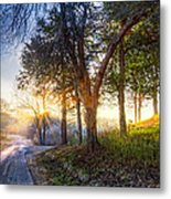 Fog At The Farm Metal Print