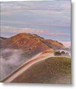 Fog Between Hills At Sunrise Metal Print