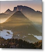 Fog Covered Mountains At Sunset Metal Print
