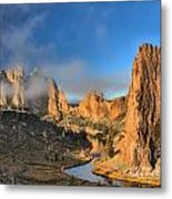Fog Over Smith Rock Metal Print