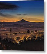 Fog Rolling In At Dawn Over The City Of Portland Metal Print