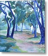 Fog Under The Oaks Metal Print