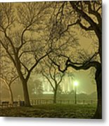 Foggy Approach To The Lincoln Memorial Metal Print