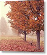 Foggy Autumn Morning Etna New Hampshire Metal Print