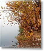 Foggy Autumn Riverbank Metal Print