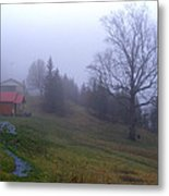 Foggy Cabin And Hillside Metal Print