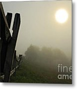 Foggy Country Road Metal Print