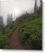Foggy Crest Trail Metal Print by Mike  Dawson