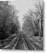 Foggy Ending In Black And White Metal Print