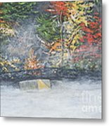 Foggy Fall Lake Metal Print
