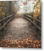 Foggy Lake Park Footbridge Metal Print by Scott Norris