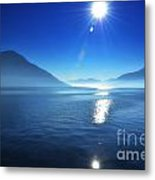 Foggy Lake With Sun Metal Print