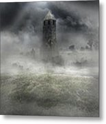 Foggy Landscape With Dark Tower Metal Print