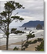 Foggy Morning At Tolovana Beach Oregon 2 Metal Print