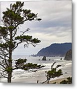 Foggy Morning At Tolovana Beach Oregon Metal Print