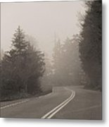 Foggy Morning Drive Metal Print