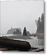 Foggy Morning On The Washington Coast Metal Print