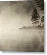 Foggy Morning On The Water Metal Print
