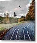 Foggy Nature Along The Train Tracks Metal Print