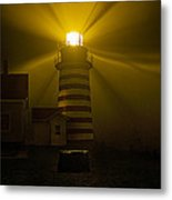 Foggy Night At West Quoddy Light Metal Print