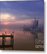 Foggy Sunset Over Swansboro Metal Print