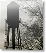 Foggy Tower Silhouette Metal Print