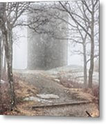 Foggy View Of The Summit Of Mount Battie Metal Print