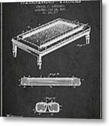 Folding Billiard Table Patent From 1887 - Charcoal Metal Print