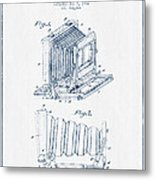 Folding Camera Patent Drawing From 1904 - Blue Ink Metal Print